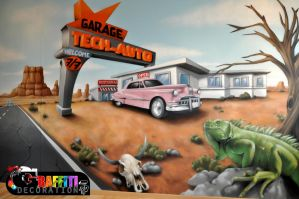 Decoration graffiti food truck by graffitidecoration on for Deco murale route 66