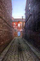 Alleyway Blue Door HDR by johnwaymont