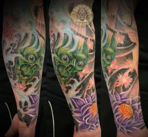 Japanese armsleeve full color by 2Face-Tattoo