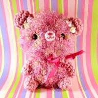 Rosy pink bear with bell by amigurumikingdom