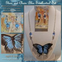 Glass and Chain Blue Swallowtail Set by Angelic-Artisan