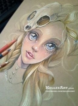 Girl with Skull WIP by KelleeArt