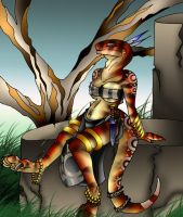 Female Raptor Anthro by AkuOreo