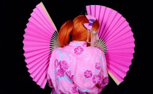 orihime pink kimono version with fan by kittychamallow