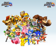 Super Smash Bros. Wii U/3DS Group Wallpaper v9 by CrossoverGamer