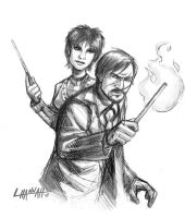 Remus and Tonks Sketch by stratosmacca
