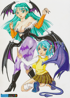 Kurumu X Morrigan by ShadowSkilz
