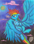 Rainbow Dash  coloured  with pencil Crayons by ArtPonyMDP