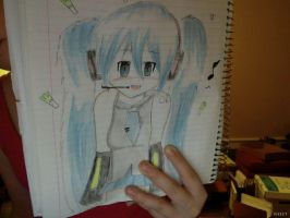Miku Hatsune Drawing by ashcat4444