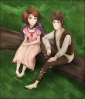 Brown-haired Barefoot Buddies by holymarbles