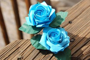 Origami Sato Blue Rose with stem and leaves by lisadeng