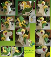 Snivy plushie by Fenrienne