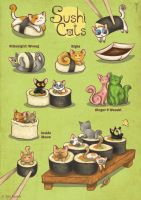 Sushi Cats by TrollGirl