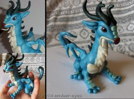 Blue Fusion Dragon Sculpt by Ember-Eyes