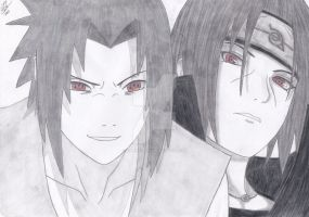 Uchiha Sasuke and Itachi by Marieella86