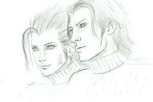 Sketch Zack and Angeal by Pookystar