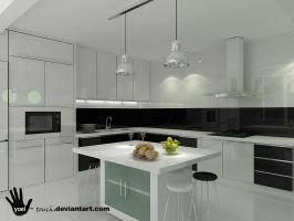 kitchen black and white view 2 by yoel-touch