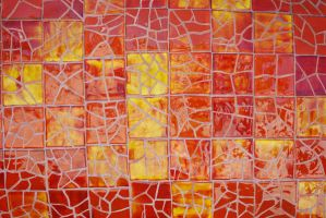 Mosaic of Red Cracked Tile by chamberstock