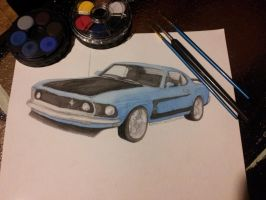 1969 Ford Mustang Boss Blue/Black Watercolor by n-lynn-c
