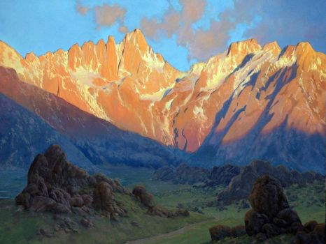 Sunrise Mount Whitney 36x48 oil by paintmofo
