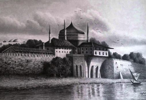 drawing constantinople mansion a4 by yilmazgunes93