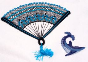 bobbin lace fan and dolphin by averil-hylton