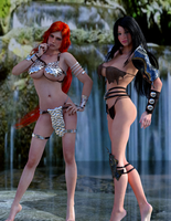 Red Sonja and Ayla - the Rock by Vad-mig-orolig