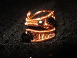 Woven adjustable copper ring beaded by Toowired