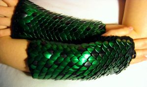 Black and Green Knitted Scale Gauntlets by CraftyMutt