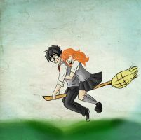 On a Romantic Broomstick Ride... by Tetra-Zelda
