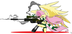 Fluttershy sniper Fluttersnipe target down by AmostheArtman