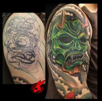 Oni Demon Mask Cover Up Tattoo by Jackie Rabbit by jackierabbit12