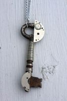 Silver Steampunk Key by mle-anne