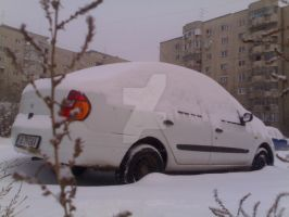 Renault Clio under snow pillow by Maverick1508