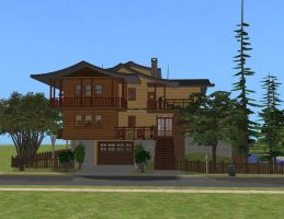 Sims 2  Japanese colonial house by RamboRocky
