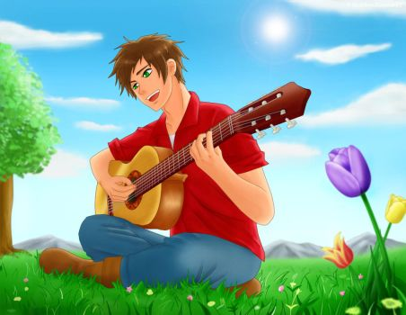 APH Spain with his guitar by MaidenKonan27