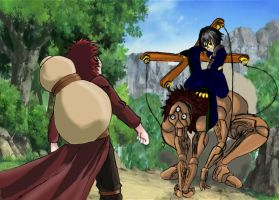 gaara vs Mano the Puppeteer by drago-flame
