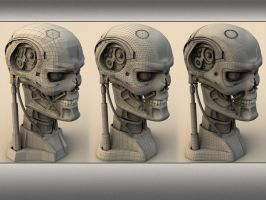 cyborg head wireframe by mmarti