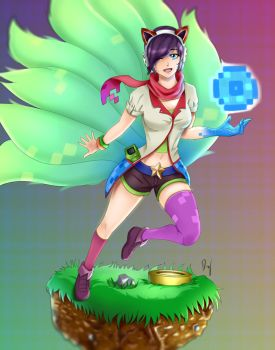 Arcade Ahri on a floating grass block v: by ModernHerobrine