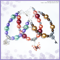 Three Hand Made Colorful Pearl Charm Bracelets by izka-197