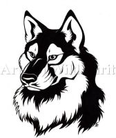 WolfDog Tattoo Commission by WildSpiritWolf