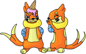 Skop and Flop the Buizel Twins by GoldFlareon