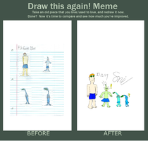 Before and After meme: Pikchange Blue by SnivyTheSniper