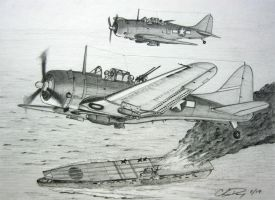 Douglas SBD Dauntless Dive Bombers in Action by ronincloud