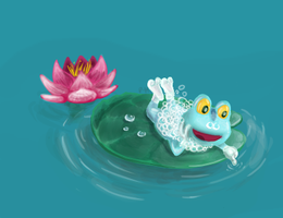 Froakie(keromatsu) on a lillypad by Punch-Holer