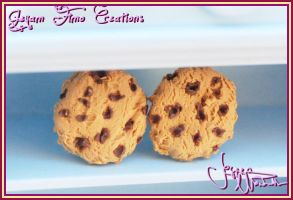 Chocolate chip cookie Earrings by Jeyam-PClay
