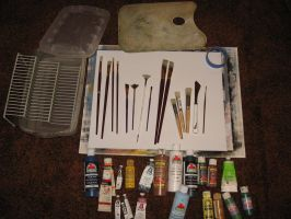 My Acrylic Painting Equipment by twinket