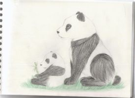 Panda mother with her baby ^^ by Saphirylis
