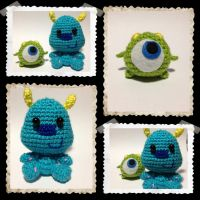 Mike and Suley amigurumis from Monsters University by NindeUndomiel