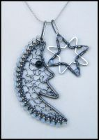 silver and opalite moon by annie-jewelry